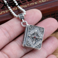 925 Sterling Silver Vintage Cross Box Pendant Necklace Jewelry With Red CZ For Men & Wonmen Punk Thai Silver Faith