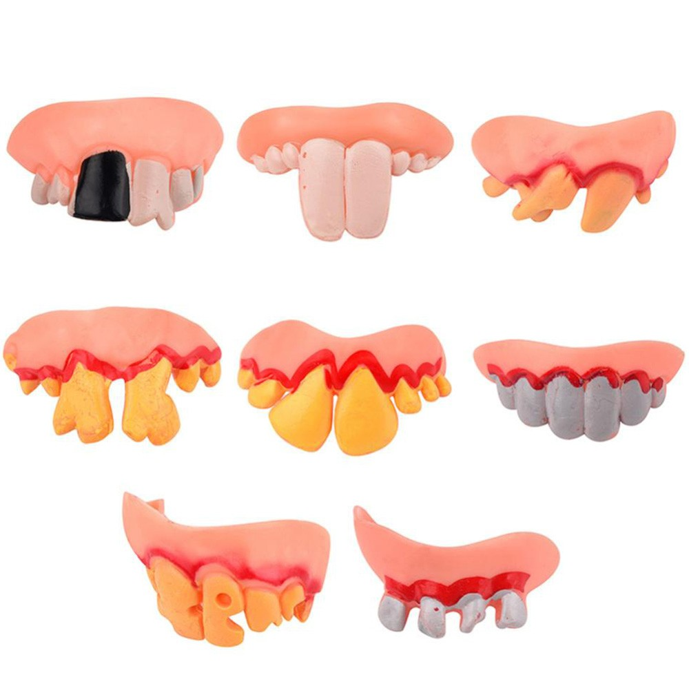 Kids Toy Baby Funny Toys For Boy Girl Hallowmas Tricks Toy Replica Disgust Ugly Denture False Rotten Teeth Model Tooth 5.28