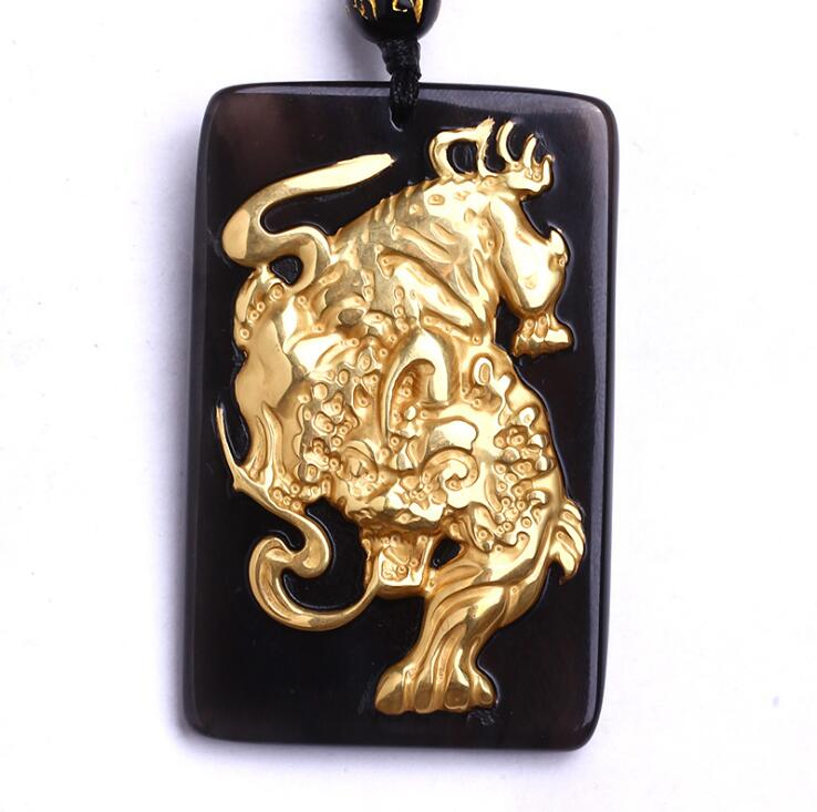 Beautiful Chinese natural black obsidian carved gold obsidian zodiac tiger lucky amulet for women and men pendant necklace natural jade black pendant women jewelry pendants black obsidian handmad carved chinese charm necklace fashion hand carved gift