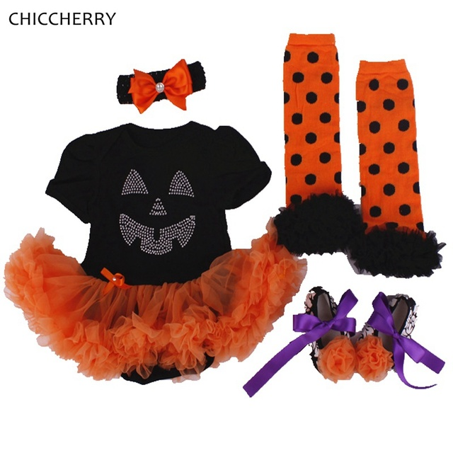265aeaaa922 Pumpkin Lantern Baby Halloween Costume Lace Romper Dress Headband Leg  Warmers Shoes Newborn Baby Girl Clothes