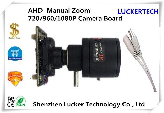 bilder für Luckertech AHD/XVI Manueller Zoom Kamera Modul bord 2,8-12mm Objektiv mit IRC NightVision UTC OSD 720/1080 mit Kabel Cctv