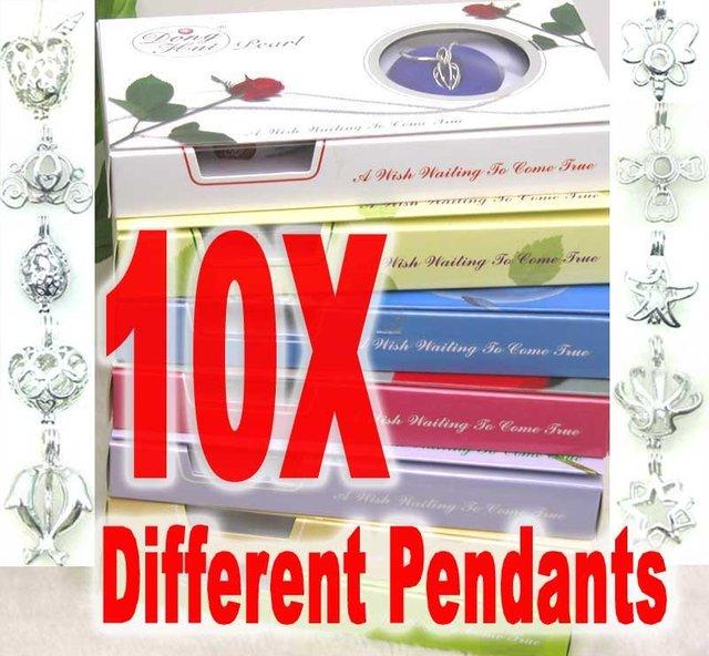 Cadeau de noël souhait perle en gros 10 boîtes mélange pendentif collier pour les femmes huîtres naturelles Chokers chaîne perle collier coffret cadeau
