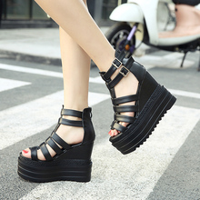 Zwängt plattform schuhe frauen dicke high heels gladiator sandalen frauen heels schwarz plateau sandalen keile schuhe X359