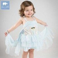 Dave bella Lolita baby dance design dress children swan print clothing girls wedding party clothes DB7718