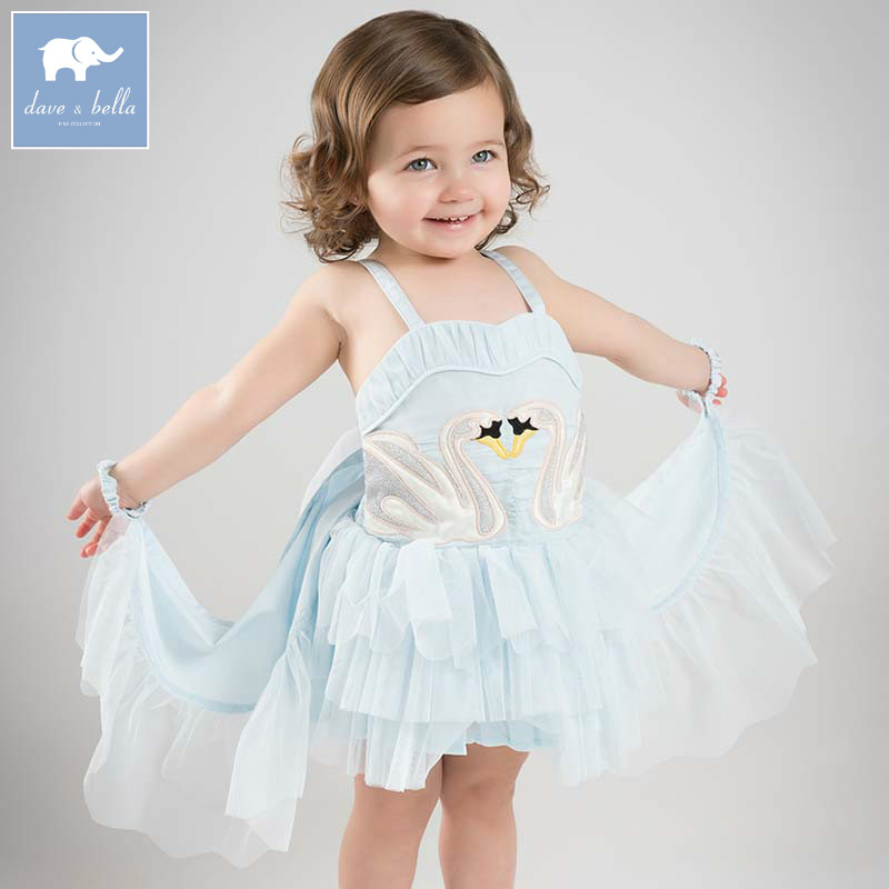 Dave bella Lolita baby dance design dress children swan print clothing girls wedding party clothes DB7718