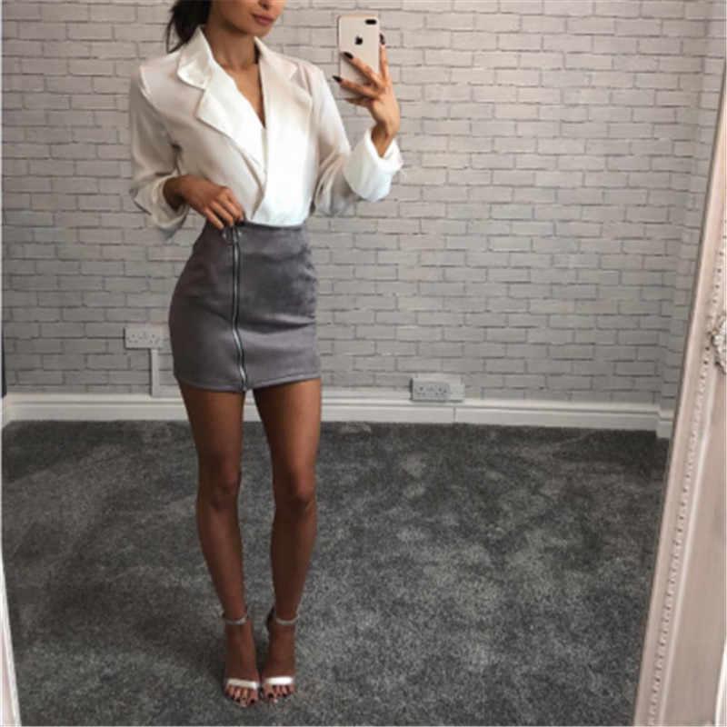 女性のカジュアルな固体ハイウエスト鉛筆ショートスカート女性のスエード革スーツ任意服ジッパーミニスカートホットスタイル