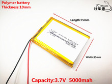 Free shipping 3.7 V lithium polymer battery 5000 mah interphone 105575 GPS vehicle traveling data recorder