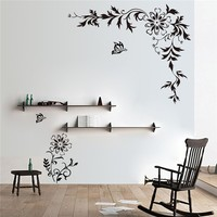 Free shipping DIY Big size Vine Flower butterfly Removable Waterproof wall stickers home decor wall art decals stencils
