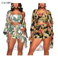 CACARE 3 Pieces Women Beach Set Women Clothing Set Short Matching Sets F2934 with Cover Up Floral Print