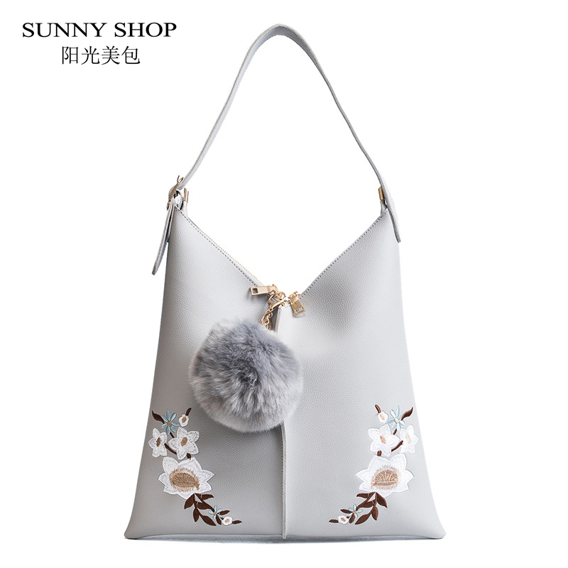 SUNNY SHOP Fashion Embroidery Floral Bag Women Leather Handbags 2018 Summer Beach Bag Bohemian Shoulder Sling A4 With Pom off shoulder floral print pom pom trim dress