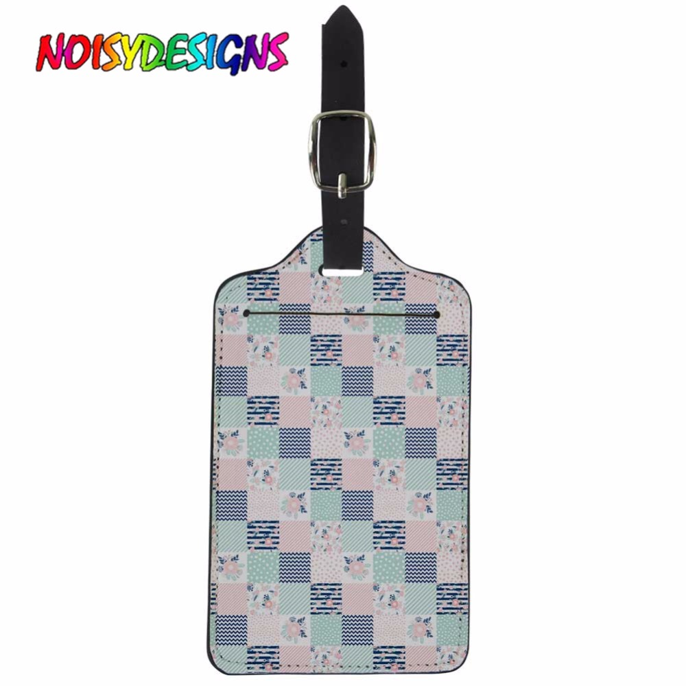 NOISYDESIGNS Pink Mint Navy Floral Design Luggage Suitcase Tag Deer Patchwork Suitcase ID Addres Holder Creative Luggage Tags