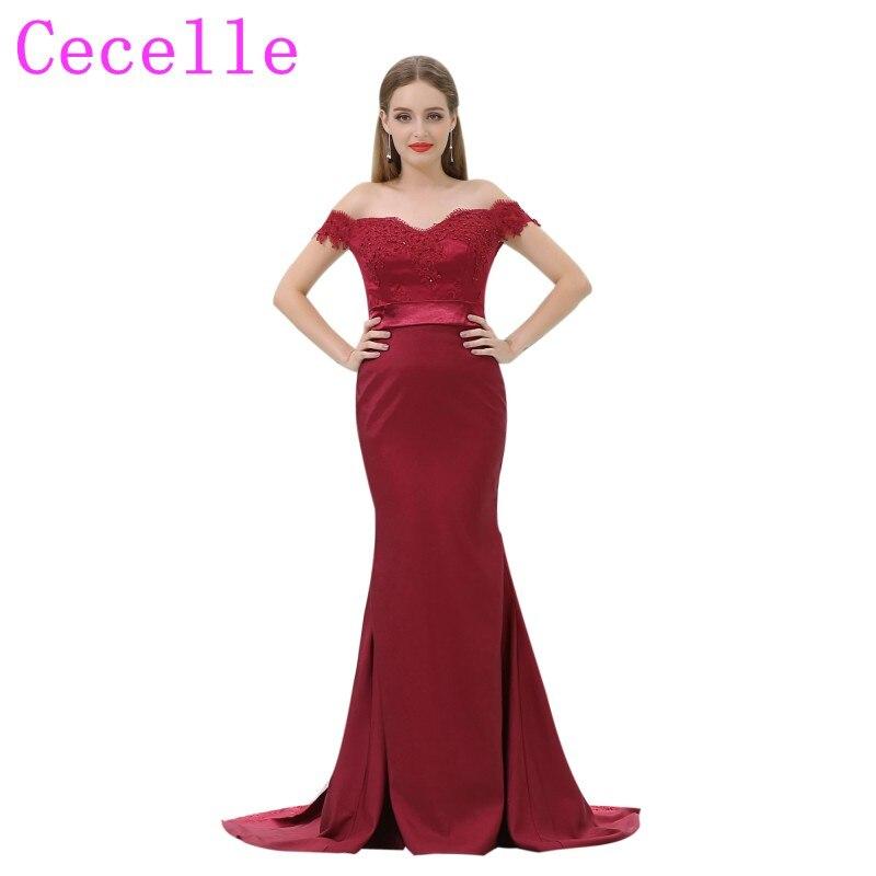 Темно красный Русалка Длинные Формальные Подружкам невесты с плеча бисером Кружево аппликации страна невесты горничная платье на заказ