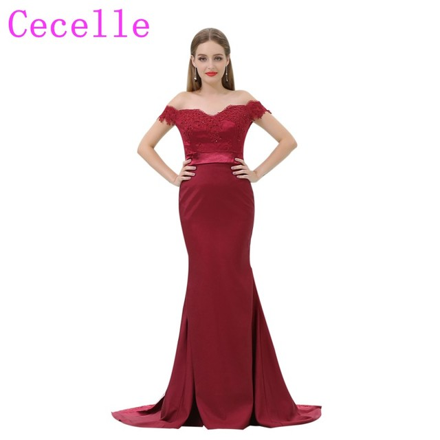 c8472900bb Dark Red Mermaid Long Formal Bridesmaid Dresses Off the Shoulder Beaded  Lace Appliques Country Brides Maid Party Dress Custom