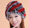 Winter Cap For Women 100% Real Rex Rabbit Hair Beanie Hat Super Hot Sell Keep Warm Free Size Mix Colors Gift for New Year Cp031