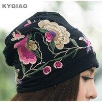 KYQIAO זול-בגדים-סין נשים סתיו חורף סגנון מקסיקני היפי בציר רקמת פרחים כחולים שחורים hat skullies בימס