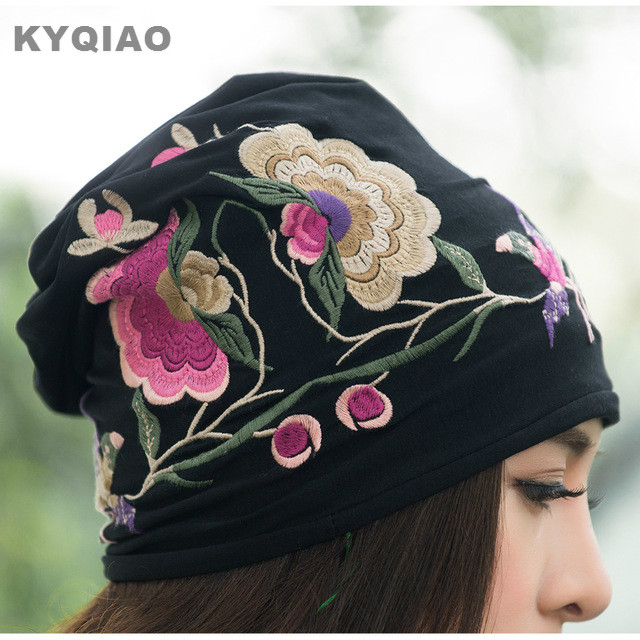 KYQIAO Cheap-clothes-china women autumn winter Mexican style vintage hippie black blue flowers embroidery hat skullies beanies