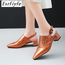 ESRFIYFE 2019 New Genuine Leather High Heels Sandals Women Fashion Summer Office Female Shoes Pointed Toe Hollow Out Footwear wetkiss wood high heels women summer sandals pointed toe footwear genuine leather sandals shoes new fashion office female shoes