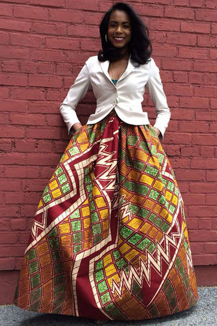 cc4ee14ec High Waist Pleated Pocket Vintage Midi skirts for woman plus size S M L XL  XXL Retro Style African Print Maxi long Skirt 65008-3