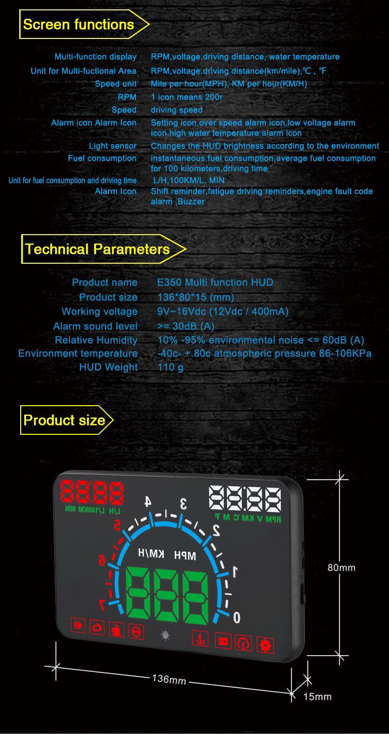 "KM//h MPH RPM Speeding Warning 5.8/"" Car HUD Head up Multifunction Display OBD2"