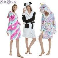 Hot Sale Halloween Autumn and Winter Women Home wear Cartoon Robes Long Panda Unicorn Animal Sleep Robe Bathrobe Women Nightgown