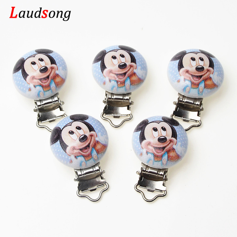5pcs Metal Wooden Mouse Baby Pacifier Clips Holders Cute Infant Soother Clasps Holders Accessories Diy