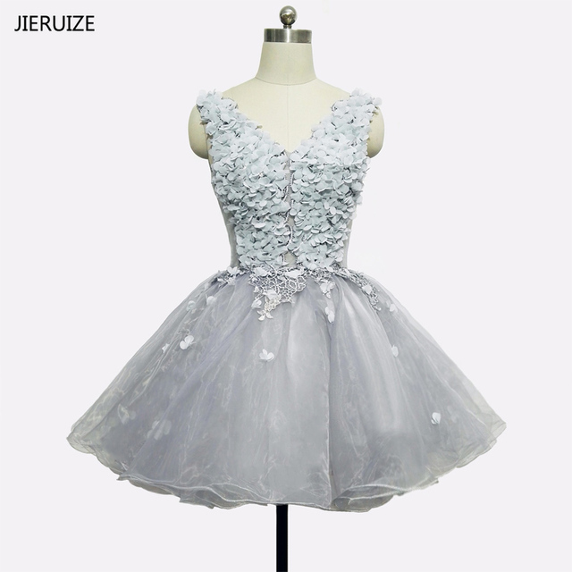 190d10b2c20 JIERUIZE Light Grey Tulle Short Prom Dresses Full Flowers Cheap Short  Cocktail Party Dresses Homecoming Dresses
