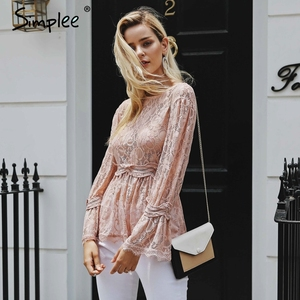 Image 4 - Simplee Kant Borduurwerk Peplum Blouse Shirt Vrouwen Elegante Ruches Flare Mouw Witte Blouse Vrouwelijke Casual Hollow Out Zomer Tops