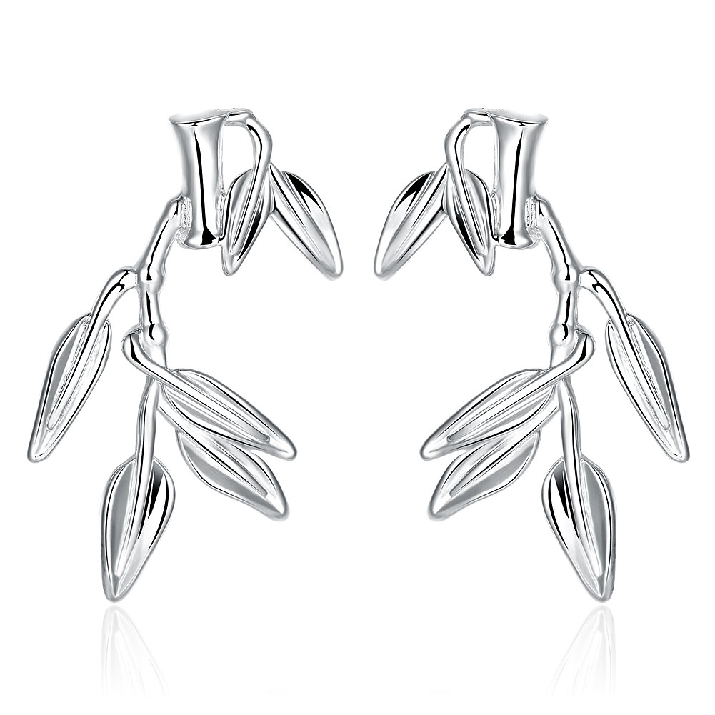 Jexxi Special Personality 925 Sterling Silver Pretty Bamboo Woman Lady Stud  Earring Wedding Engagement Party Accessory