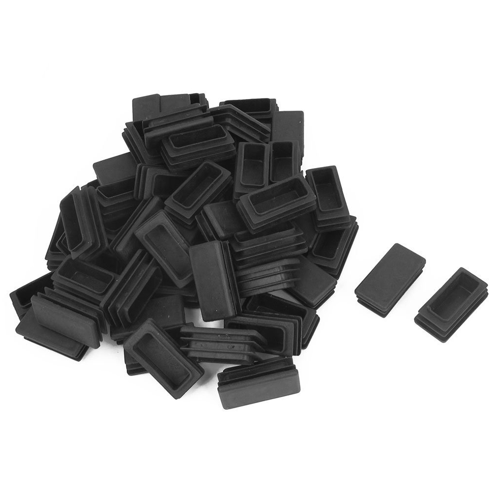 Hot Sale Rubber Rectangle Blanking End Tube Caps Inserts 20x40mm 100pcs Black
