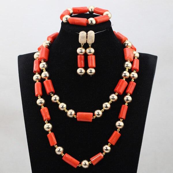 Ensemble de bijoux de mariée de mariage africain Unique ensemble de bijoux de mode à longue chaîne ensemble de perles de corail artificiel le plus Long livraison gratuite QW1017