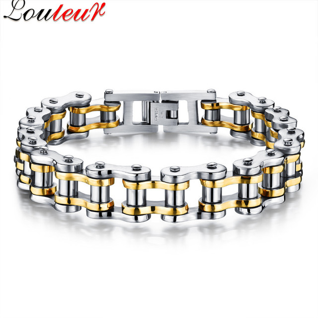Louleur 2017 Fashion Cool Bicycle Motorcycle Chain Bracelet For Men Gold Color Stainless Steel Biker