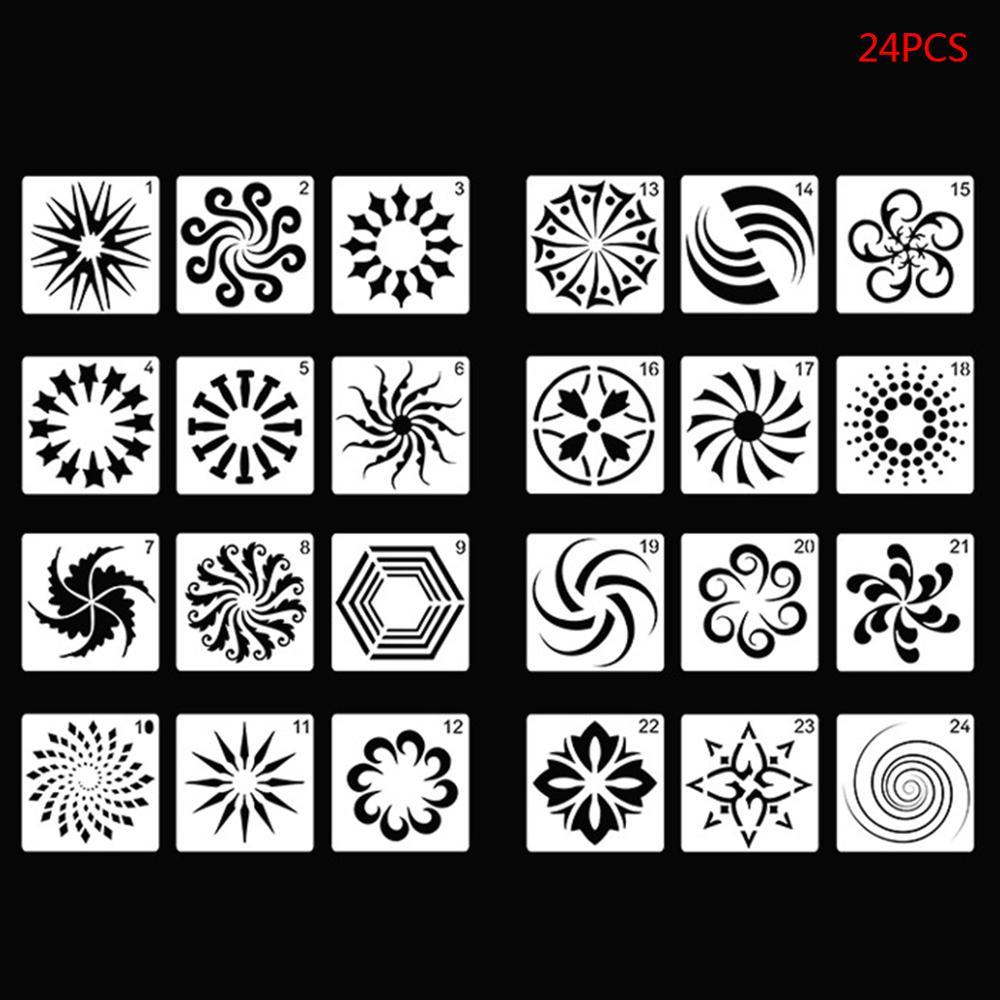 24pcs Mandala DIY Painting Drawing Templates Ruler Stencil Scrapbooking Writing Tools Crafts Art Projects