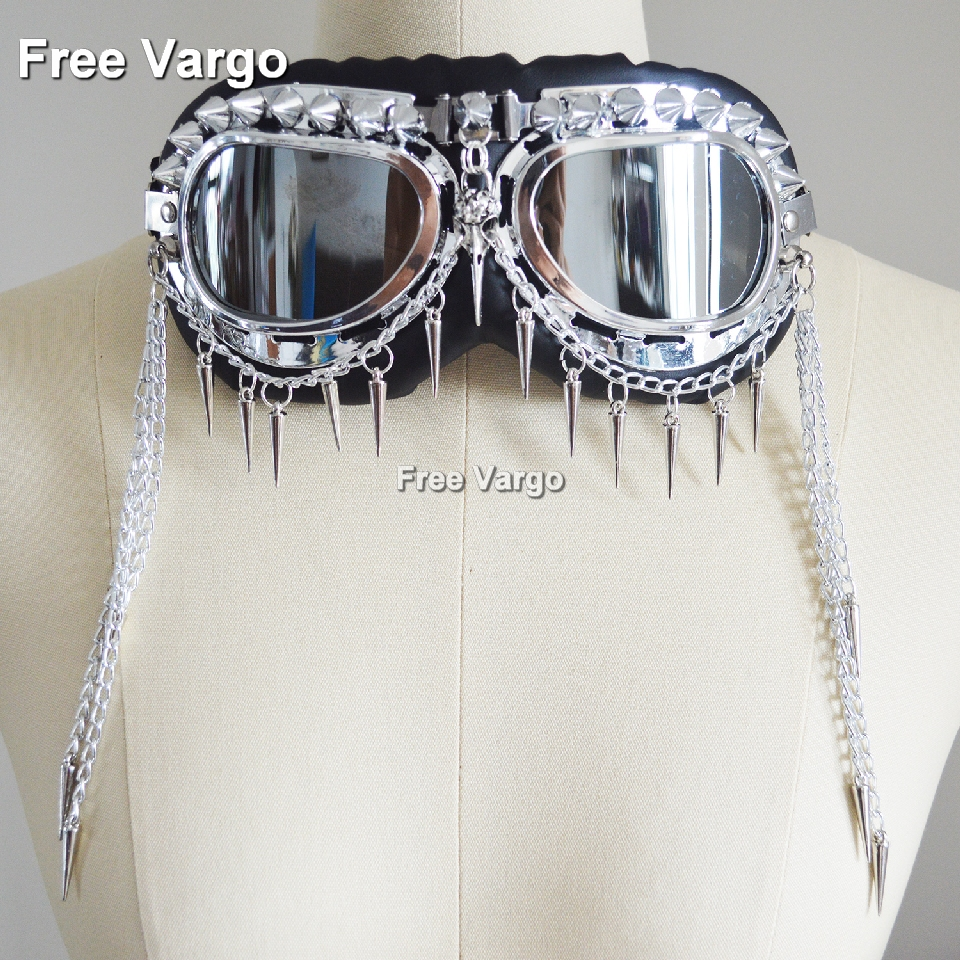 Holographic Rave Streampunk Burning Man Chain Skull Bird Head Spike Costume Cyber Goth Goggles Masquerade Mask