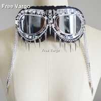 Holografische Rave Streampunk Burning Man Keten Schedel Vogel Hoofd Spike Kostuum Cyber Goth Goggles Masquerade Masker Voor Vrouwen