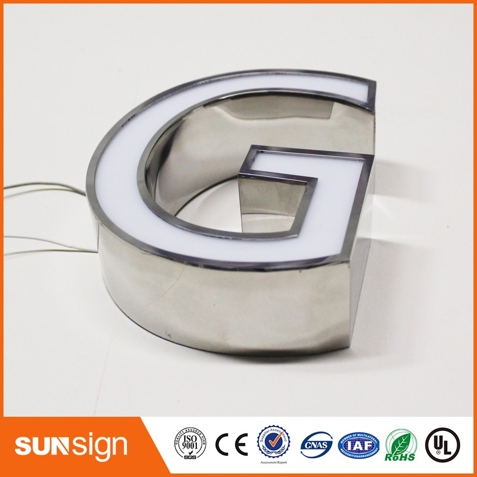 Illuminated Stainless Steel Sign Channel Letter Sign Led Alphabet