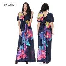 e1ff3522a68 MF6042 Summer Plue Size Sexy V-neck Beach Vacation Beach Print Dress Ice  Silk Maxi Dress Bohemian Floor-Length Dress