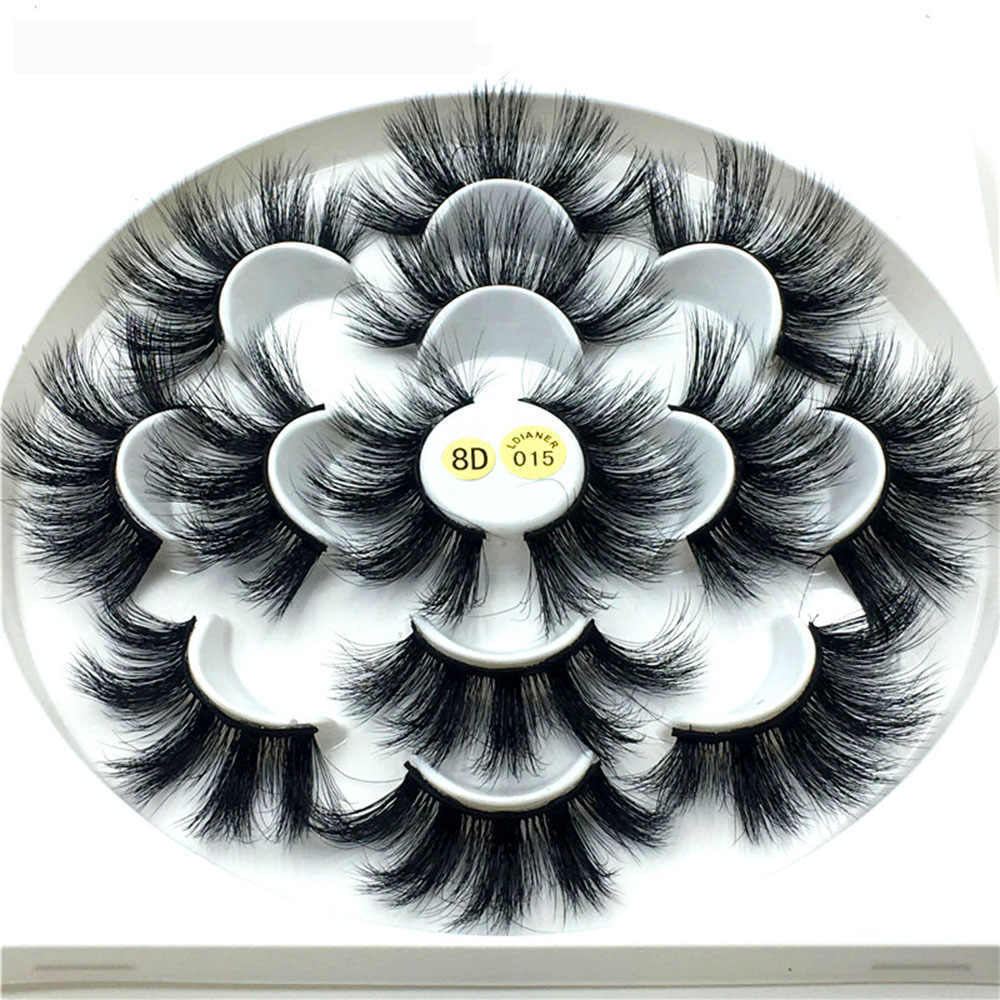 1/7 Pairs Dramtic 25mm Long Mink Lashes 8D Mink Hair False Eyelashes Fluffy Eyelashes Extension Wispies Eyelash Makeup Tools