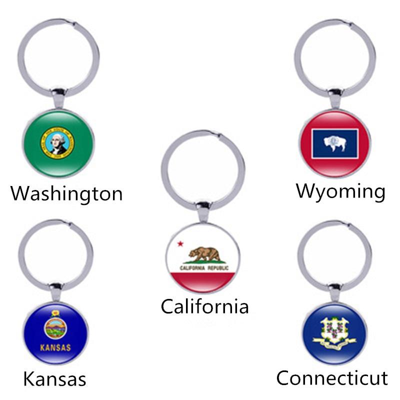 Wyoming State Flag Black Leather Metal Keychain Key Ring