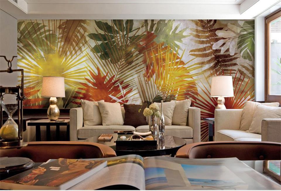 Custom Room Wallpaper Home Decor 3d Photo Mural Palm Tree Leaf Art Landscape 3d Hd Photo