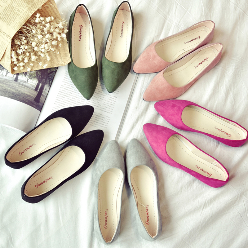 2019 Women Flats Pointed Toe Slip On Flat Shoes Woman Ballet Flats Faux Suede Shallow Shoes Ladies Loafers Zapatos Mujer A7477