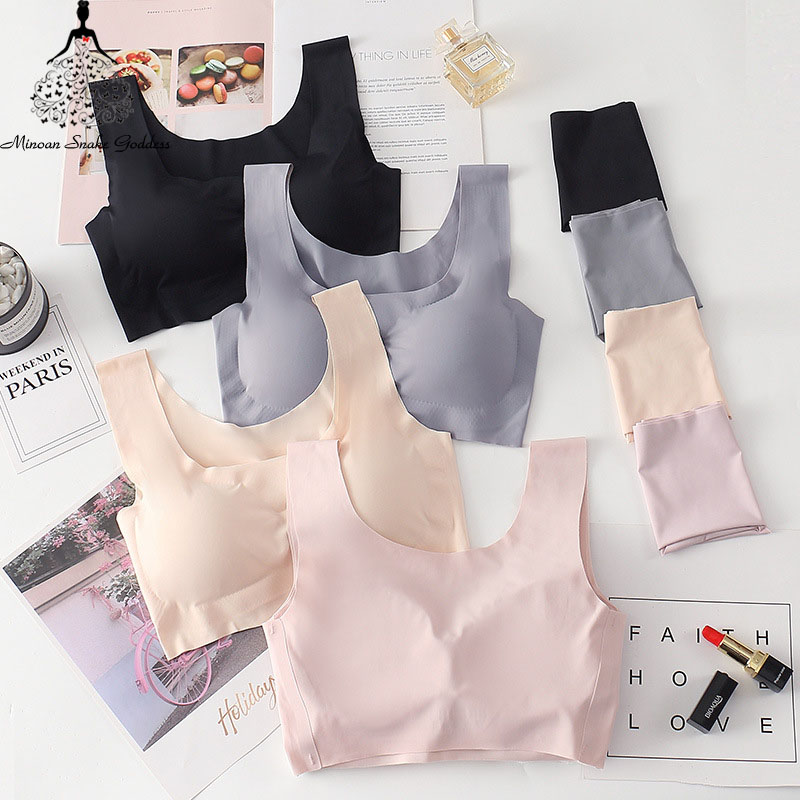 Seamless Underwear   Bra     Set   For Women Push Up Vest   Bra   And Panty   Set   Mid Waist Breathable Sleep Underwear Lingerie   Set   Female