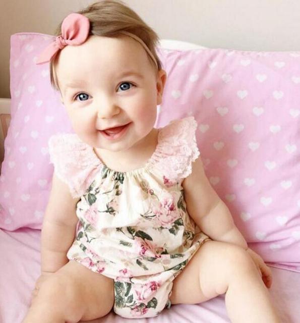 Macacão de bebê rendas floral bebés recém-nascidos roupas clothing manga curta bebê da menina roupa infantil bebes próximo do corpo macacão