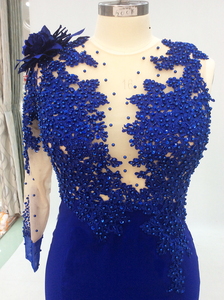 Image 5 - One Shoulder Long Elegant Evening Dresses Mermaid with Sleeves Beaded Royal Blue Formal Dresses Saudi Arabic Evening Party Gown