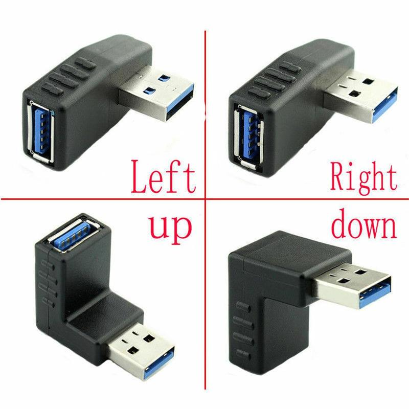 Left-bend USB Male Pair Female 3.0 Elbow Data Line Right Angle 90 Degree Side Bend High-speed Mobile Phone Computer Connector