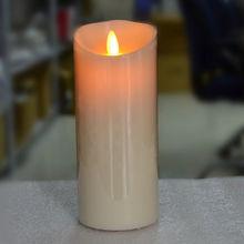 Zestaw 3 zasilany przez port USB akumulatorowa lampa led filar świeca parafinowa falista krawędź ruchomy knot ślub Xmas Party dekoracja baru 10CM 12.5CM 15CM