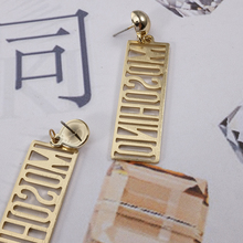 2018 Hot Sale Creative Geometric Rectangular Earrings Hollow Letter Pattern Long Earrings for Women Gifts Jewelry Accessories