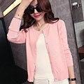 2015 nuevo estilo dulce otoño invierno chaqueta de punto del suéter con cuello en v manga larga Pink Beige
