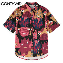 GONTHWID Cartoon Graffiti Print Hawaiian Strand Shirts Sommer Casual Kurzarm Shirt Männlichen Mode Hip Hop Streetwear Shirts(China)