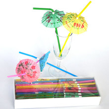 Free shipping 100pcs/lot umbrella drinking straws parasol cocktail paper straws Party Decoration Color Assorted(China)