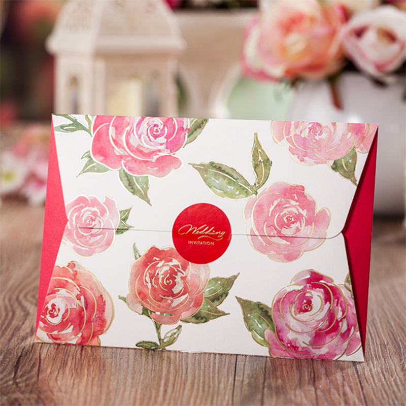 FLower Design Vintage Flower Wedding invitations Printing Blank Pocket Invitation Cards Kit Convite Paper New Style square design white laser cut invitations kit blanl paper printing wedding invitation card set send envelope casamento convite